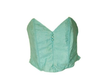 Vintage Turquoise Strapless Bustier. U.K Dress Size 14 D Cup.