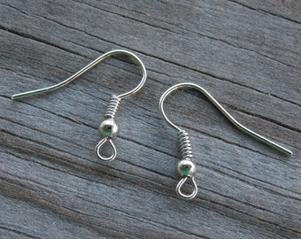 100 Pairs Silver Tone French Hook Earring Wires 18mm Ball and Coil Nickel Free Antiqued Silver