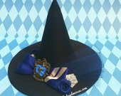 Ravenclaw Mini Witch Hat Fascinaor In Blue And Silver - Original Design by Hat and Mouse