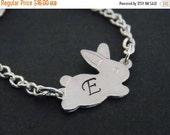 SALE Silver Bracelet, Rabbit Bracelet, Initial Bracelet, Bunny Bracelet, Silver, Personalized, Bunny Charm, Tiny, Animal Jewelry, Friend Gif