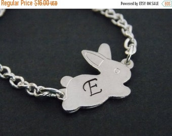 SALE Silver Bracelet, Rabbit Bracelet, Initial Bracelet, Bunny Bracelet, Silver, Personalized, Bunny Charm, Tiny, Animal Jewelry, Friend Gif