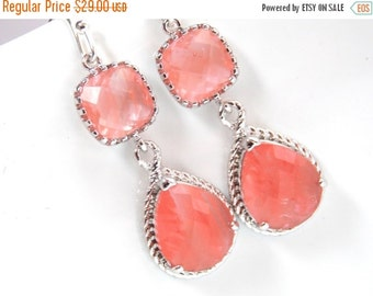 SALE Coral Earrings, Peach, Grapefruit, Silver, Wedding Jewelry, Bridesmaid Jewelry, Bridesmaid Earrings, Bridal Jewelry, Bridesmaid Gifts