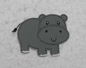 Hippo - MADE to ORDER - Choose SIZE and Color - Tutu & Shirt Supplies - fabric Iron on Applique Patch 7394