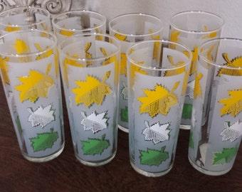 SALE!!  Colorful Leaf Pattern Beverage Glasses