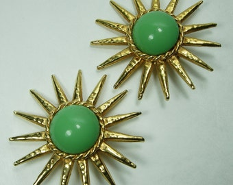 1980s Philippe Ferrandis Paris Green Poured Glass Earrings Sunburst Runway Couture