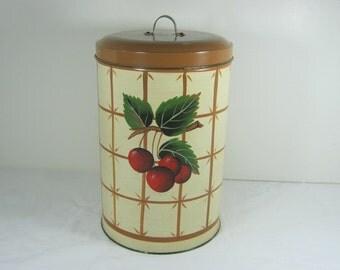 Vintage CHERRY CANISTER Cherries Galvanized Kitchen Storage Chippy Paint