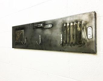 Urban modern industrial coat rack brushed steel entryway coat rack with three hangers