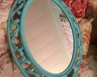 Vintage gloss seaside aqua framed mirror