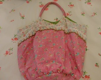 Shabby Chic Pink Floral Tote Bag