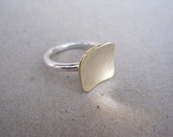 Sterling Silver with 9ct yellow gold 12mm square top Stacking Ring - Made to Order
