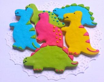 Large Dinosaur Sugar Cookies - 1 Dozen Dinosaur Cookies
