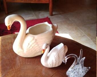 Vintage lot of SWANS, flower pot, shaker and crystal figurines, USA, JAPAN