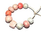 Ceramic Bead Set Stoneware Handmade Pottery Beads Pinks