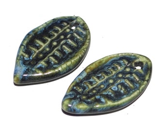 Ceramic Earring Charms Pair Rustic Stoneware Pottery Blue