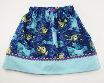 Monsters Inc Girls Skirt - Girls Costume Dress Up Trunk Vacation Birthday Outfit - Mike and Sully - Avail Size 3 mth to Adult -