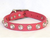 Flamingo Pink Leather Dog Collar with Jewels, Fancy Leather Dog Collar, Small Leather Dog Collar, Small Pink Collar
