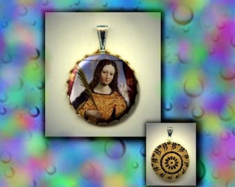 St Eulalia of Merida Christian Patron Saint of SNOW and bad Inclement weather flat button CABOCHON in Brass Charm / Pendant