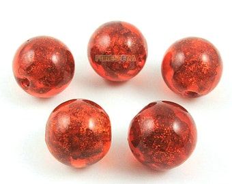 12mm Gold Foil Glass Bead Red Glass Bead for Jewelry (BEAD-A14-12-05)