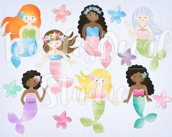 Mermaid Clip art, Digital Mermaid Art, Ocean Clipart, Watercolor Mermaid ClipArt, Mermaid Illustration, Commercial use, PNG file, 300 dpi