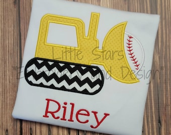 Bulldozer with Baseball - Appliqued and Personalized
