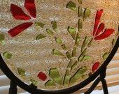 "12"" Red Flower Raised Design Glass Window / Table Decoration"