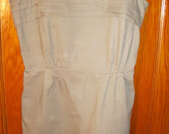 Vintage-inspired Neutral Linen Romper