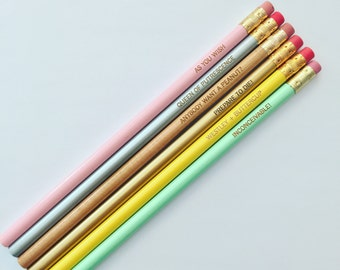 inconceivable! pastel pencil set of 6. engraved pencils. as you wish. Back to school pencils.