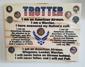 Hand Crafted US Air Force Airman's Creed Plaque