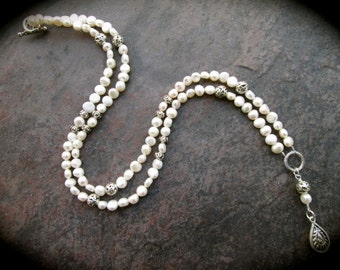 Extra Long Freshwater Pearl Necklace Rosary style with pewter teardrop pendant and filigree beads
