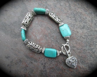 "SALE Turquoise filigree bracelet with filigree heart charm and toggle clasp 7 1/2"" Blue green turquoise beads"