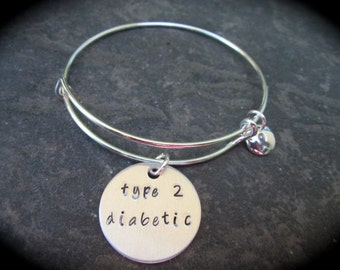 Type 2 Diabetic Adjustable wire bangle bracelet with Gray enamel ribbon charm Diabetes Awareness Medical Alert