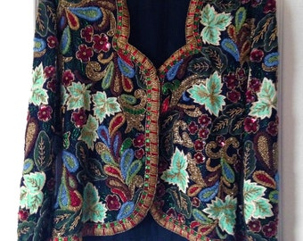 CHANSON D. AMOUR small beaded and crocheted jacket from I.MAGNIN