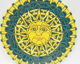 "Celestial Sun Original Mosaic Wall Art Handmade Ceramic Tile  ""Teal Sun"" 16"""