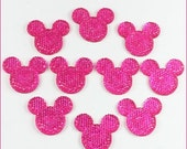 ON SALE 10pcs Hot Pink Minnie Mickey Mouse Shape Cabochons Resin Flatbacks Scrapbooking Girl Hair Bow Center Crafts Making Embellishments DI