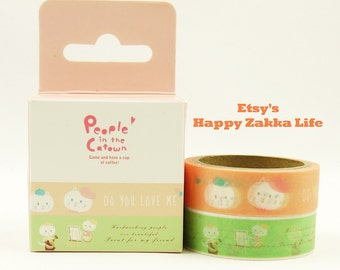 People in the Catown 04 - Japanese Washi Masking Tape - 5.5 Yards - 2 rolls