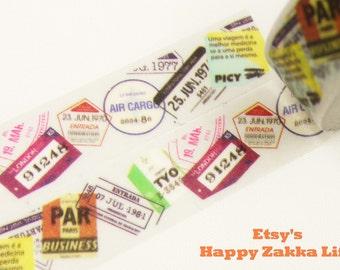 Colorful Pass Stamps - Japanese Washi Masking Tape - 11 yards