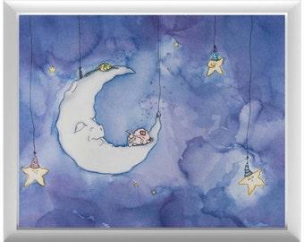 Moon and Starry Sky | Illustration | Art Print | Nursery Art | Nursery Decor | Night Sky | Purple | Sleeping Moon | Dream Art | Wall Art