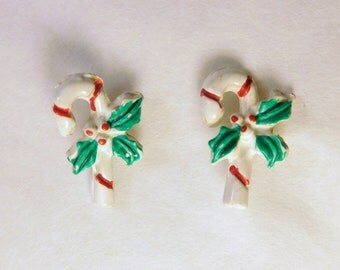 """Vintage CHRISTMAS CANDY CANE Post Earrings - Darling Kitch - Very Small Tiny 1/2"""" Tall - Holiday Jewelry"""
