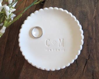 wedding ring dish, Large ring holder, CUSTOM Ruffled You Plus Me initial tray, White Matte,  Made to Order