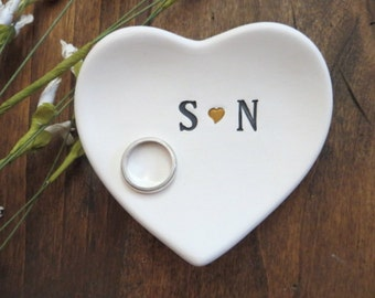ring dish, engagement ring holder, black and gold, white matte, custom ceramic  heart shaped jewelry bowl, You and Me,  Gift Boxed
