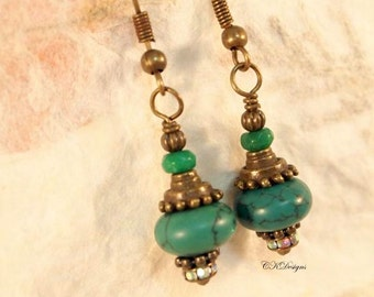 Magnesite Turquoise Earrings, Turquoise and Brass Earrings, Tourmaline and Turquoise Pierced or Clip-on Earrings,  Handmade Earrings.