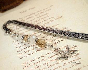 Beaded Bookmark with Charm, Origami Bird Charm Bookmark, Beaded Metal Bookmark. Gift for Her, Gift for a Reader, OOAK Handmade Bookmark.