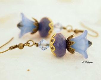 SALE Flower Lucite Earrings, Blue Chalcedony Victorian Earrings Vintage Style Pierced or Clip-on Earrings OOAK Handmade Earrings CKDesignsus