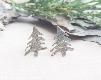 Hammered Silver Tree Earrings | Tree Studs | Silver Earrings | Tree Earrings | Nature Jewelry