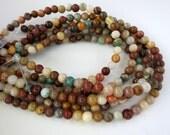 Polychrome Jasper Beads, 4mm Round Stone Beads, 8 Inch Strand, Ready to Ship