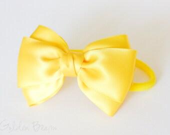 Baby Bright Yellow Emma Bow Clip OR Headband - Flower Girl - Baby Satin Bow - Girls Satin Bow - Bun Hair Bow - Baby to Adult Headband