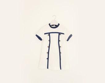 Vintage White & Navy Blue Nautical Sailor Tunic, Womens Size Small / ITEM554