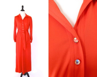 Vintage 1970's Red Leslie Fay Maxi Disco Dress Size Medium