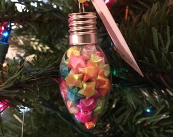 Origami lucky star lightbulb ornmannt, lucky stars, origami ornament, lucky star ornament, glass ornament, christmas ornament