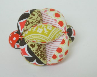 Bright Baby Clutch Ball - Grab Ball - Montessori Toy - Soft Fabric Puzzle Ball - Baby Shower Gift - Sensory Learning Toy - Lime Red Brown